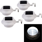 YouOKLight Waterproof 0.3W 40lm 3-LED White Light Solar Powered Garden Wall Lamps - White (4PCS)