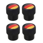 MZ Universal 8mm Germany Flag Replacement Aluminum Alloy Car Tire Valve Caps - Black (4 PCS)