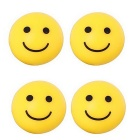MZ 8mm Smiling Face Car Plastic Tire Valve Caps - Yellow (4PCS)