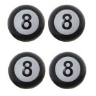 MZ Universal 8mm American Billiards No.8 Ball Car Plastic Tire Valve Caps - Black (4PCS)