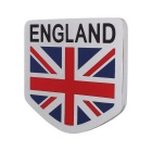 MZ Universal Car Aluminum Alloy Front Grille England Flag Badge Decoration - Silver