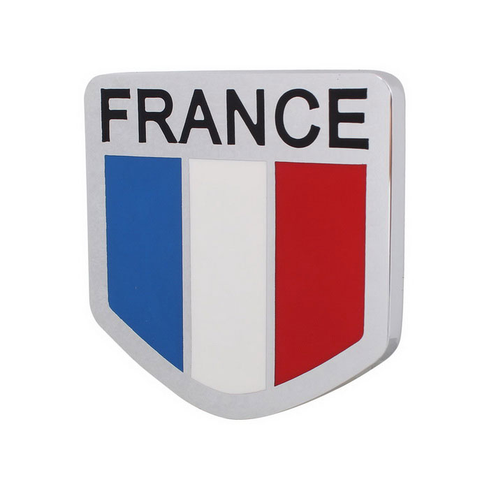 MZ Universal Car Aluminum Alloy Front Grille France Flag Badge