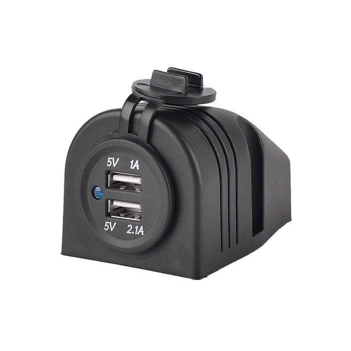 Waterproof 5V 3.1A Dual USB Motorcycle / Car Power Charger - Black