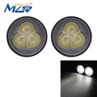 MZ 9W 3 LED-Auto-Tagespositions / Fog / Backup-Licht-weiße Blinklicht 180lm (12V / 2 PCS)