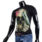 Cool Gun & Rose & Skull Pattern Round-Neck Short-Sleeve Cotton T-Shirt Top - Black (M)