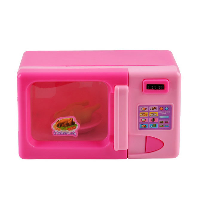 Home Liances Electric Toy Microwave Oven W Indicator Pink 2 Aa
