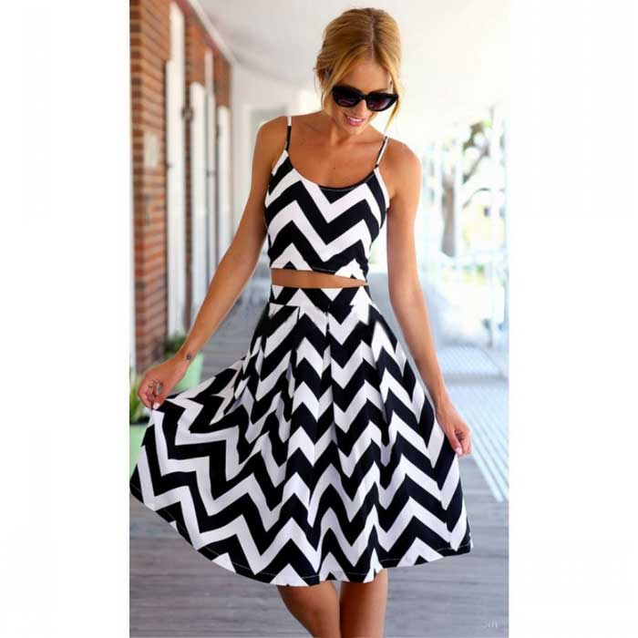 Beach / Stretchy Sleeveless Chiffon Maxi Dress - Black + White (M)