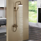 YDL-LK1050 High-End Luxury Antique Brass Bathroom Rainfall Shower Faucet Suit - Bronze