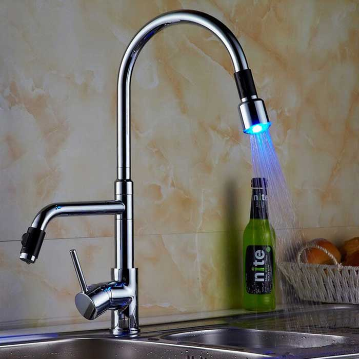 YDL-XF1071 Contemporary Single Handle LED Pull-Out Kitchen Faucet - Silver