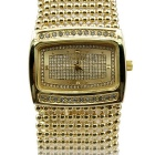 IDOMAX Women's Classic Fashion Rhinestones Decorated Alloy Band Quartz Analog Bracelet Watch - Gold