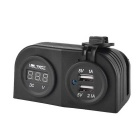 12-24V Dual USB 3.1A Motorcycle Voltmeter Waterproof Charger - Black