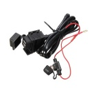 12~24V Dual USB 2.1A Modified Motorcycle Waterproof Charger - Black