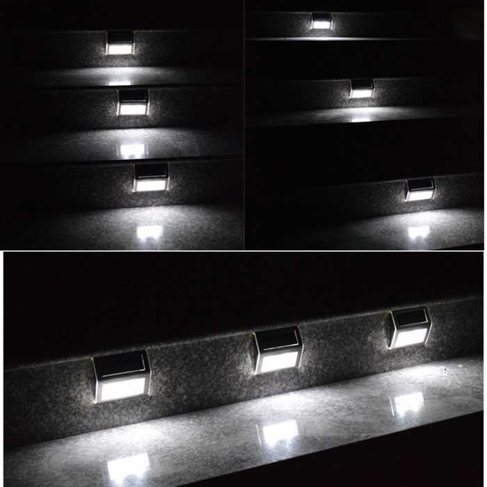 YouOKLight 0.2W White 6000K 2-LED Solar Wall Light - Silver (4PCS) - Free Shipping - DealExtreme