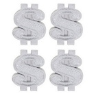 MZ Universal 8mm Dollars Car Tire Valve Caps - Silver (4 PCS)