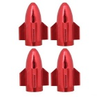 MZ Universal 8mm Rocket Aluminium Alloy Tire Valve Caps - Red (4 PCS)
