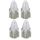 MZ Universal 8mm Rocket Aluminium Alloy Tire Valve Caps - Silver (4 PCS)