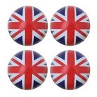 MZ Universal 8mm UK Flag Car Plastic Tire Valve Caps - Red + Blue + Black (4PCS)