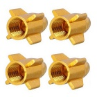 MZ 8mm Rocket Aluminium Alloy Tire Valve Caps - Golden (4PCS)