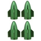 MZ Universal 8mm Rocket Aluminium Alloy Tire Valve Caps - Green (4 PCS)