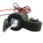 5V 3.1A Waterproof Blue Light Motorcycle Dual USB Charger - Black