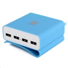 LOCA 5V / 2.1A 4-Port USB Power Charger Adapter for Tablets / Cellphone - Light Blue (US Plug)