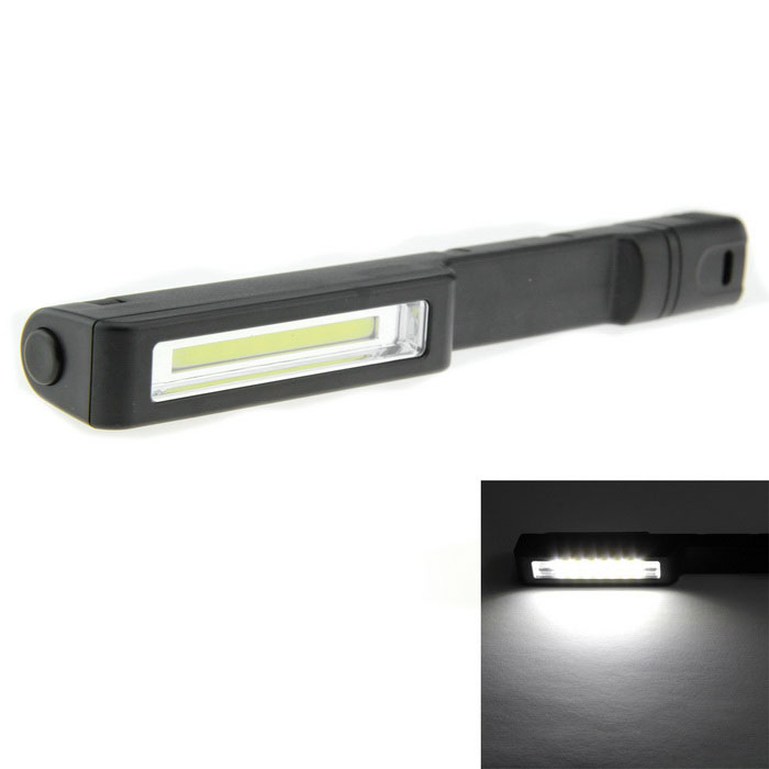 1-LED 160lm 1-Mode Cold White Work Lamp Flashlight - Black (3*AAA)