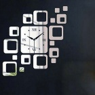 Square Luxury Wall Art DIY Clock Mirror Sticker for Home Decoration - Silver