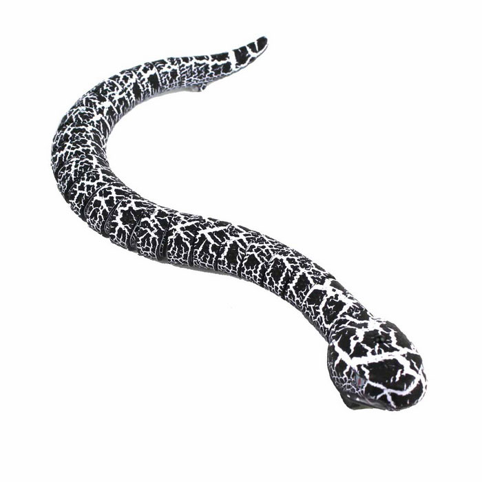 Simulation Remote Control Scary Animal Snake Toy - White + Black