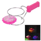 Magnetic Spinning Top Toy w/ LED Light Effect for Kids - Deep Pink (3 x AG13)