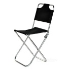 Ultra Light Aluminum Alloy Outdoor Folding Stool Fishing Chair w/ Backrest - Black + Silver