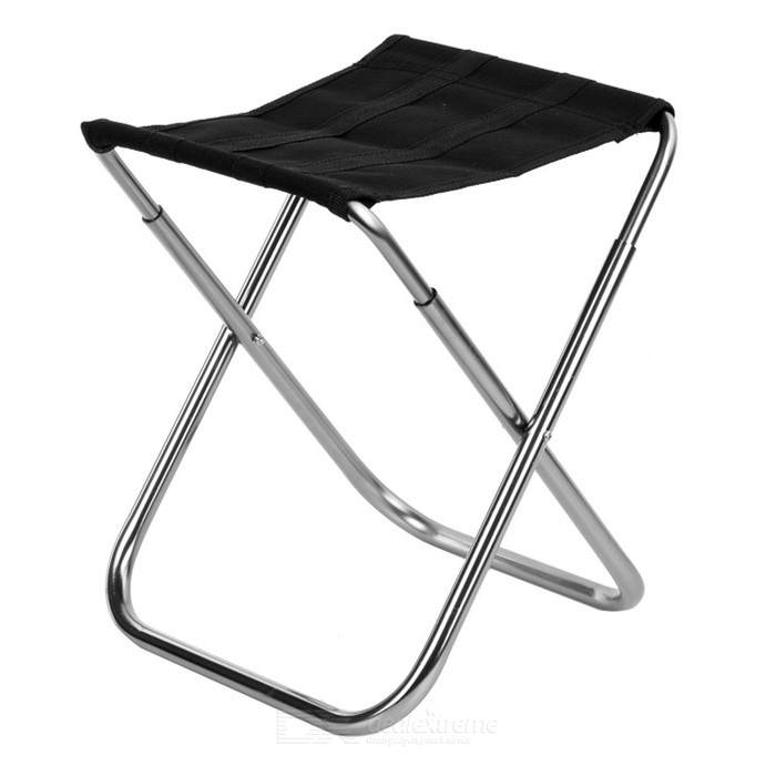 Ultra Light Aluminum Alloy Outdoor Folding Stool Fishing Chair - Black