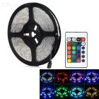 24W 3528 SMD LED Light Strip RGB Light 1200lm w/ 24-Key Controller - White + Black (AC100~240V / 5M)