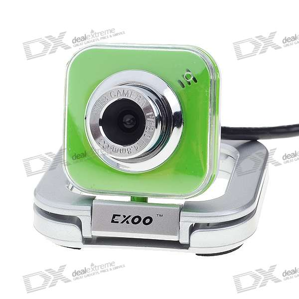 Compact 1.3MP PC USB 2.0 Webcam with Built-in Microphone (Silver + Green)