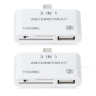 3-in-1 Micro USB OTG Adapters w/ SD / MMC / TF Card Slots - White (2 PCS)