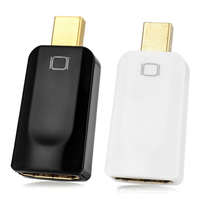 Mini displayport macho para HDMI adaptador fêmea - branco + preto