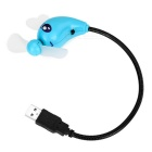 Mini Cartoon 2-Blade USB 2.0 Fan - Black + Blue
