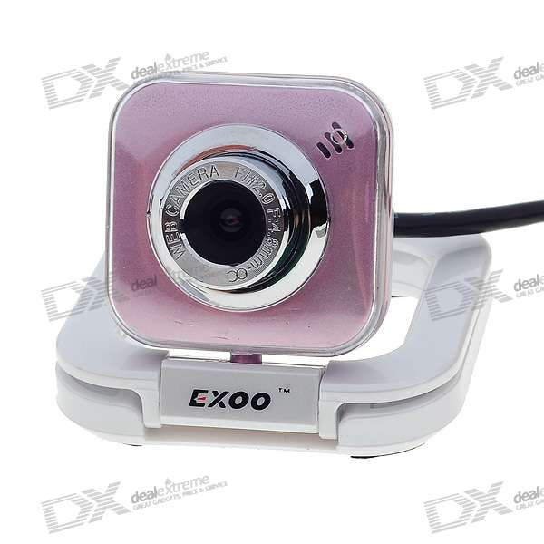 Compact 1.3MP PC USB 2.0 Webcam with Built-in Microphone (Silver + Pink)