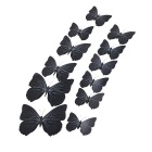 PVC 3D Simulation Butterfly Wall Stickers Art Decals - Black (12 PCS)