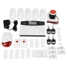 "2.7"" LCD Quad-Band GSM Burglar Security Alarm System - White + Black"