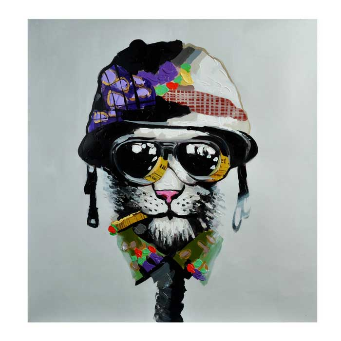 Cool Smoking Mr. Dog Hand Painted Oil Painting - Black + Grey + Multi-Color