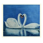 Beautiful Swans Hand Painted Oil Painting - Blue + White + Multi-Color