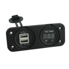 DIY 12~24V WaterProof Motorcycle Charger Voltmeter 2-Port USB - Black