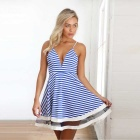 Women's Sexy Stripe Deep V-Neck Sleeveless Dress - Blue (Size XL)