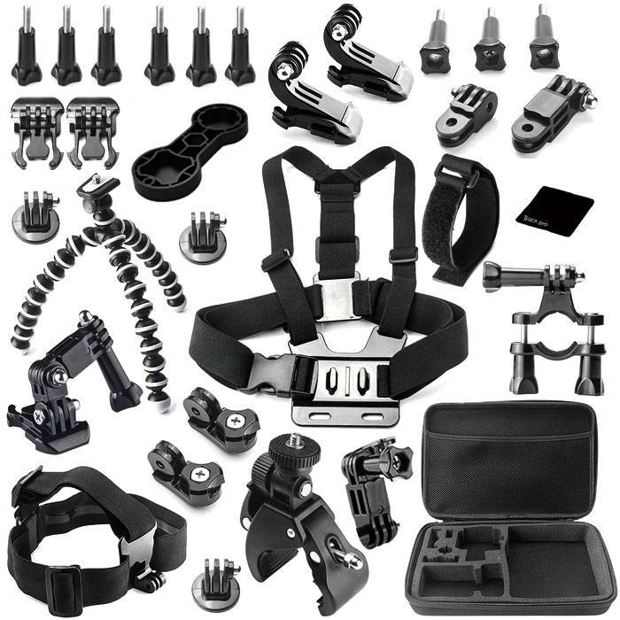 30-in-1 Accessories Kit for GoPro Hero 4, Hero HD 3+ 3 2 1 - BlackMounting Accessories<br>Form ColorBlackQuantity1 DX.PCM.Model.AttributeModel.UnitMaterialPlasticShade Of ColorBlackCompatible ModelsGoPro Hero 1,GoPro Hero 2,GoPro Hero 3,GoPro Hero 3+,GoPro Hero 4RetractableNoMax.Load1 DX.PCM.Model.AttributeModel.UnitPacking List9 x Screws2 x J-mounts2 x Bases3 x Adapters1 x Wrench1 x Long link1 x Short link1 x Octopus1 x Chest strap1 x Wrist band1 x Bicycle clip1 x Big bag2 x Arms2 x Camera connectors1 x Bracket1 x Headband<br>