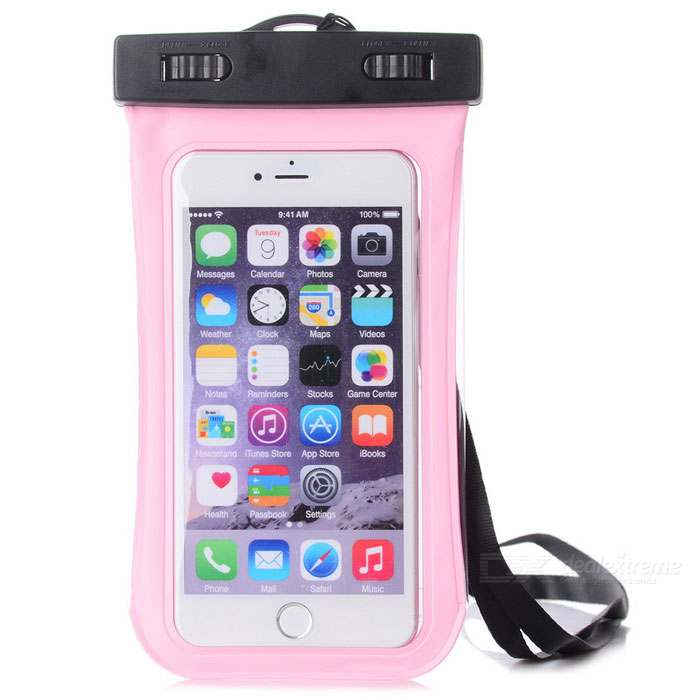 Waterproof PVC + ABS Case w/ Visual Window + Armband for IPHONE 6 PLUS - Pink