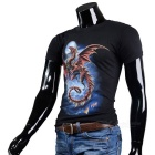 Fashionable Cool Casual Dragon Pattern Round-Neck Short-Sleeve Cotton T-Shirt Top - Black (M)
