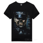 Skull Pattern Round-Neck Short-Sleeve Cotton T-Shirt Top - Black (M)