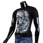 Fashionable Cool Casual Indian Pattern Round-Neck Short-Sleeve Cotton T-Shirt Top - Black (M)