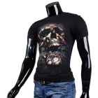 Fashionable Cool Casual Skull Pattern Round-Neck Short-Sleeve Cotton T-Shirt Top - Black (M)