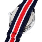 CURREN Men's Canvas Band Analog Quartz Watch - Dark Blue + Red (1*626)